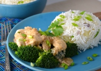Thai Style Chicken with Peanut Sauce and Pineapple Rice