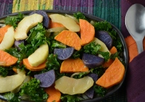 Roasted Yam with Apple and Kale