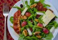 Winter Salad with Prosciutto, Roasted Grapes, Tart Cherries, Pears and Walnuts