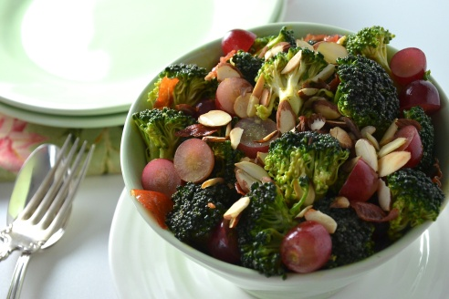 Curry Broccoli Salad with Red Grapes and Almonds