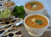 African Yam and Peanut Soup with Ginger and Pineapple