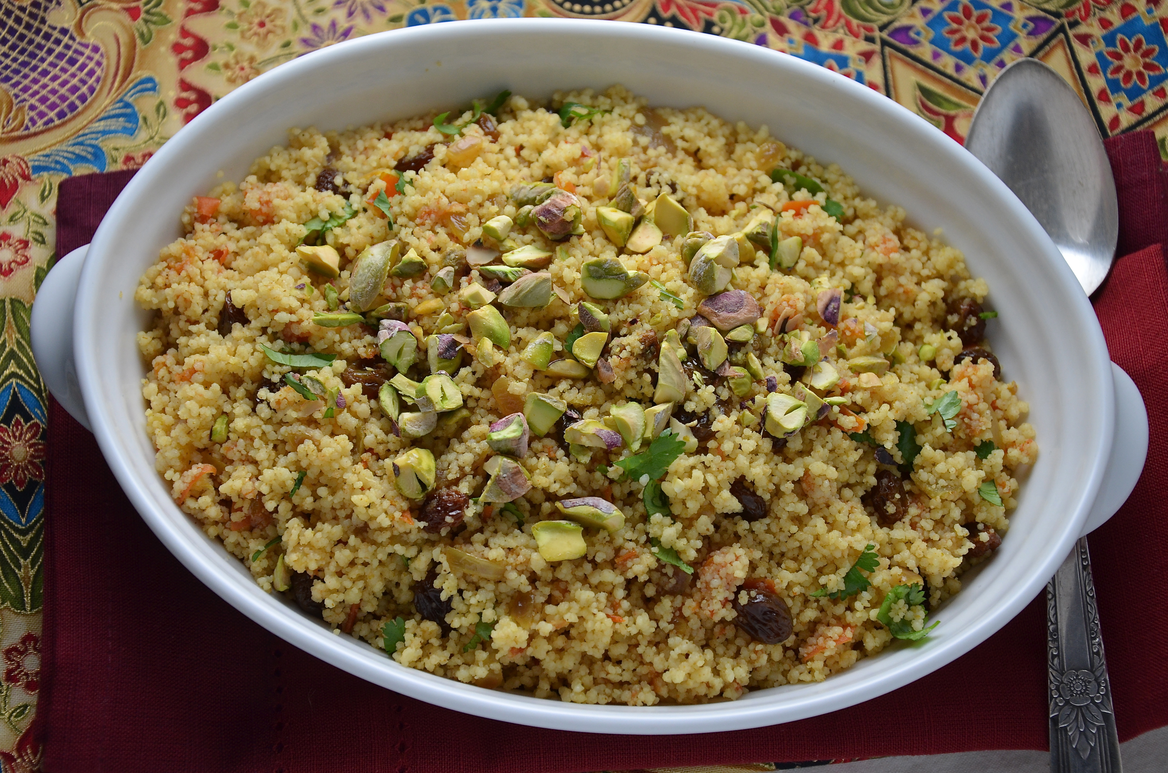 Spiced Couscous Pilaf with Raisins and Pistachios: Moroccan Series, #2 ...