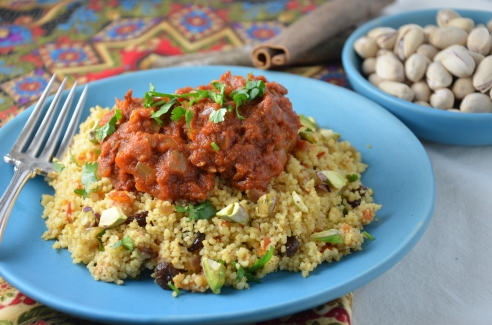 Moroccan Meatballs with Chickpeas in Spicy Tomato Sauce