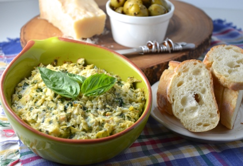 Warm Artichoke,Basil and Olive Dip