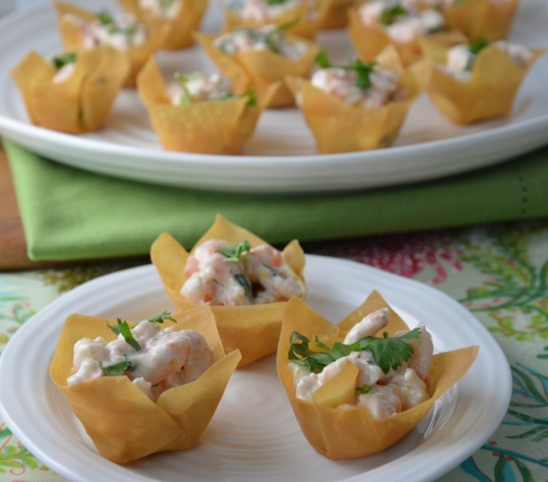 Mango - Curry Shrimp Salad in Wonton Cups