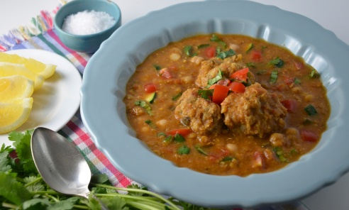Moroccan Lentil Soup with Meatballs