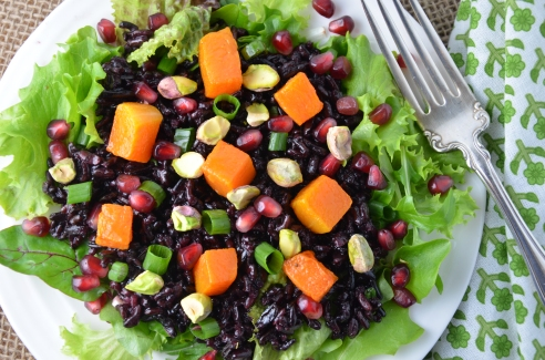Black and Wild Rice Salad with Roasted Squash, Pomegranate Seeds and Pistachios