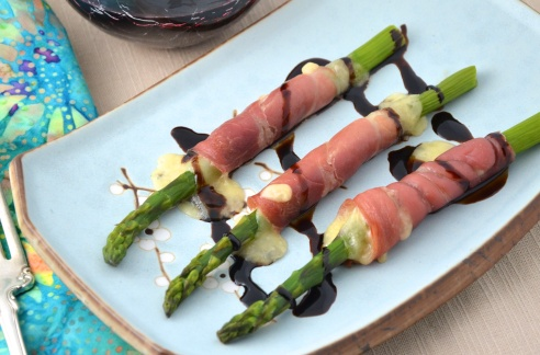 Grilled Asparagus, Wrapped with Prosciutto and Cheese, Drizzled with Balsamic Cream