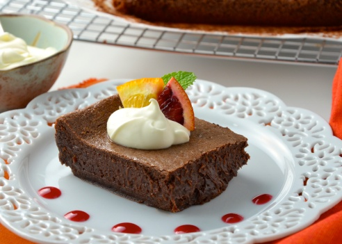 Blood Orange, Balsamic Brownies with Blood Orange Coulis