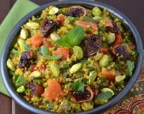 Quinoa Salad with Saffron, Drunken Figs and Pistachios