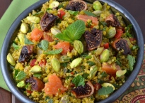 Quinoa Salad with Saffron, Drunken Figs and Pistachios