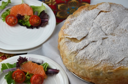 Moroccan Chicken Pie with Apricots and Almonds