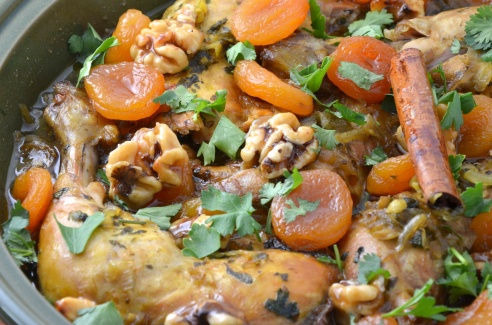 Chicken Tagine with Apricots and Caramelized Walnuts
