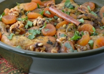Chicken Tagine with Apricots and Caramelized Walnute