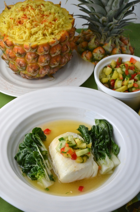 Halibut in Spicy Pineapple Broth and Pineapple Cucumber Relish