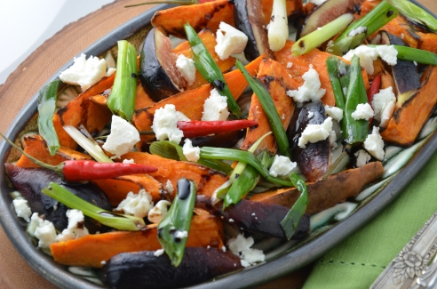 Roasted Yams with Fresh Figs and Goat Cheese