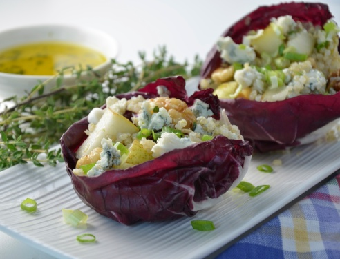 Quinoa, Pear, Walnut and Blue Cheese Salad with Thyme Dressing in Radicchio Cups