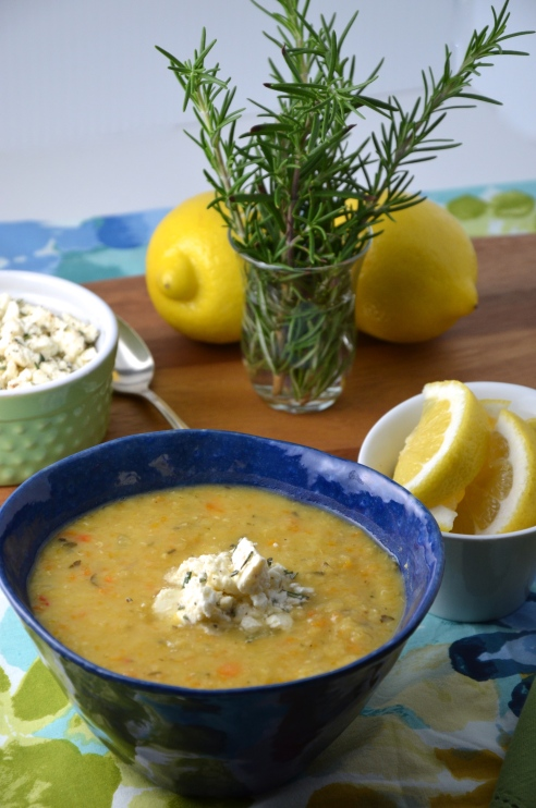 Greek Red Lentil Soup with Lemon, Rosemary and Feta Cheese