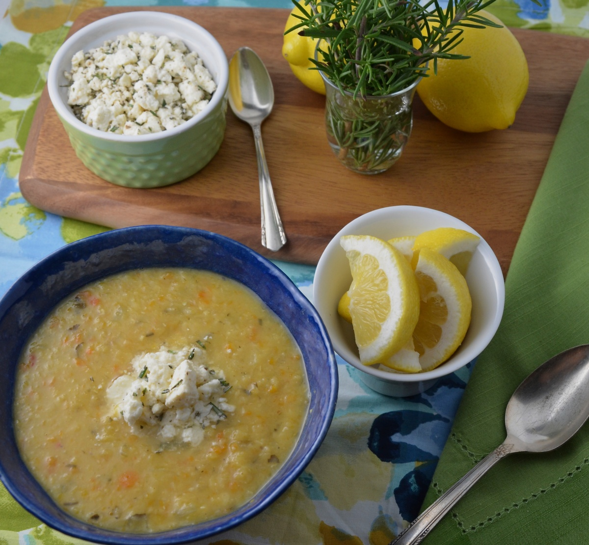 Greek Red Lentil Soup with Lemon, Rosemary and Feta Cheese ...