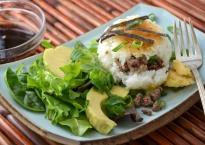 Crispy Rice Beef Balls with Avocado Salad