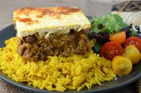 South African Bobotie with Yellow Rice