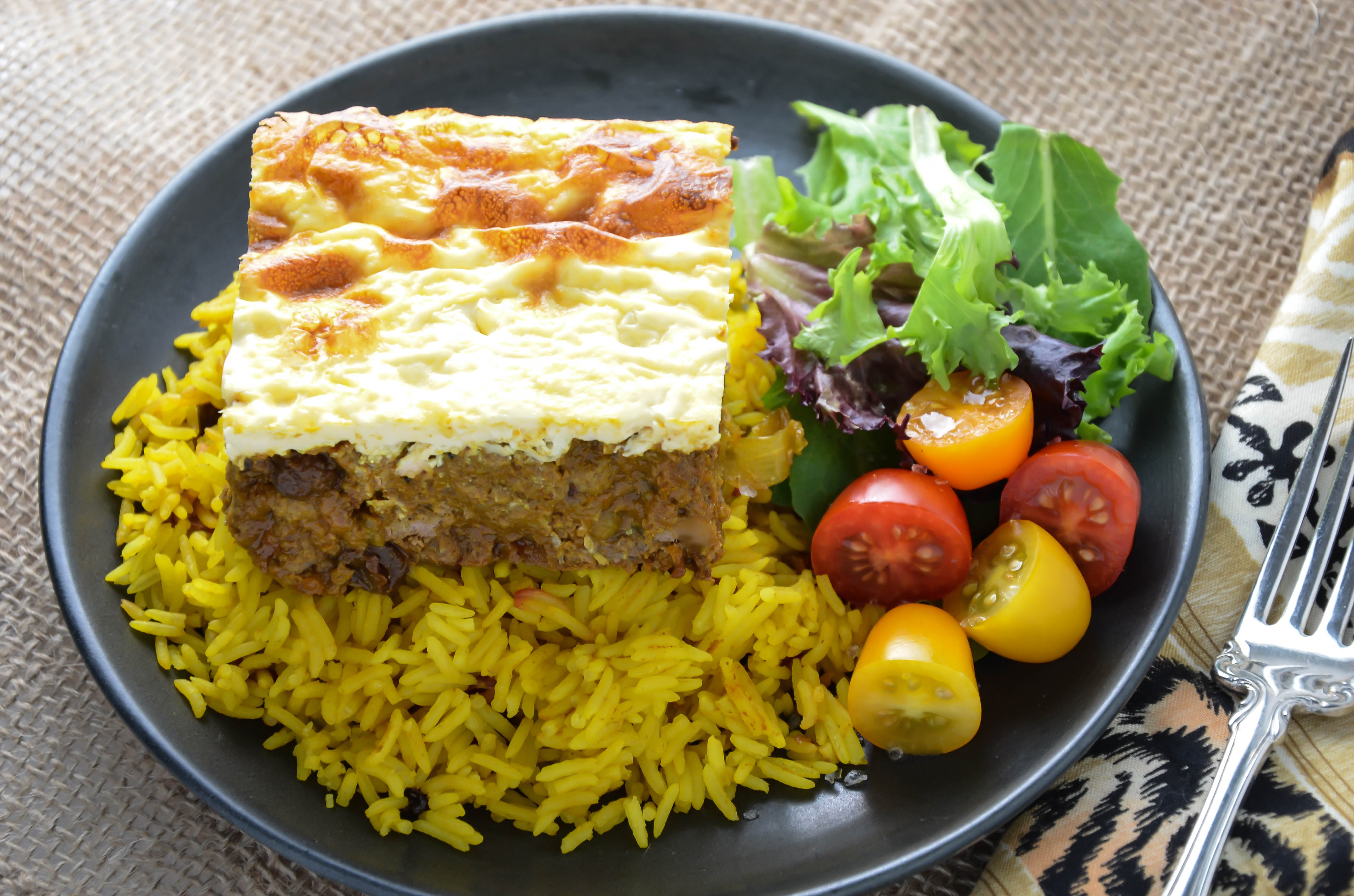 South african bobotie with yellow rice foodie on board for Angie s african cuisine