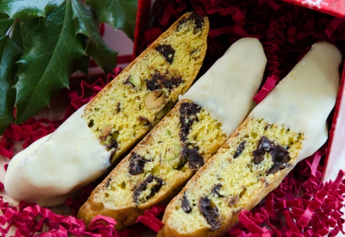 Saffron, Pistachio and Chocolate Chunk Biscotti