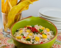 Coconut Crab Dip with Plantain Chips