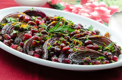 Roasted Red Onions with Pomegranate, Parsley and Orange Gremolata