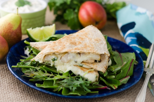 Pear and Chèvre Quesadillas with Cilantro Cream