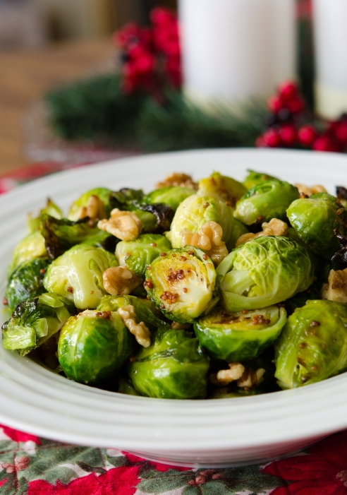 Brussels Sprouts with Walnuts and Grainy Mustard Sauce
