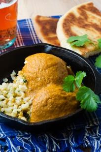 Curry Meatballs with Sesame Cauliflower Rice