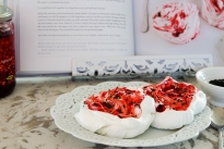 Giant Red Berry Meringues with Hawaiian Black Lava Salt