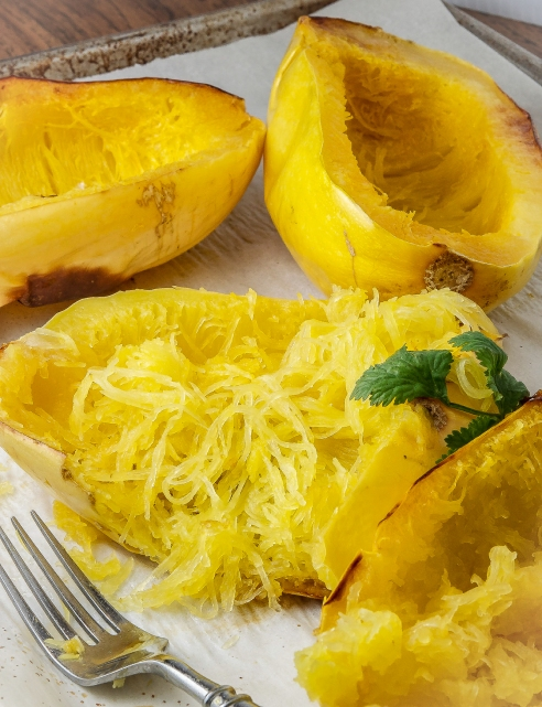 Spaghetti Squash makes a light base for many curries.