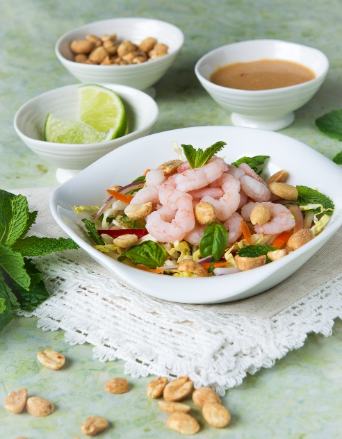 Asian Coleslaw with Quinoa, Peanuts and Shrimp