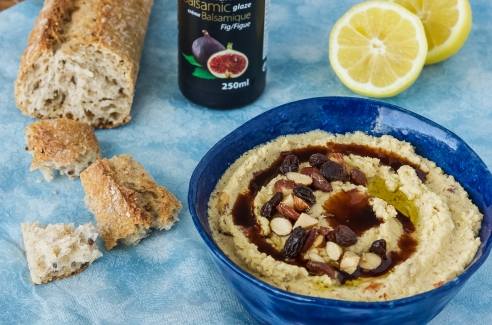 Smoked Almond Hummous with Fig Balsamic and Raisins