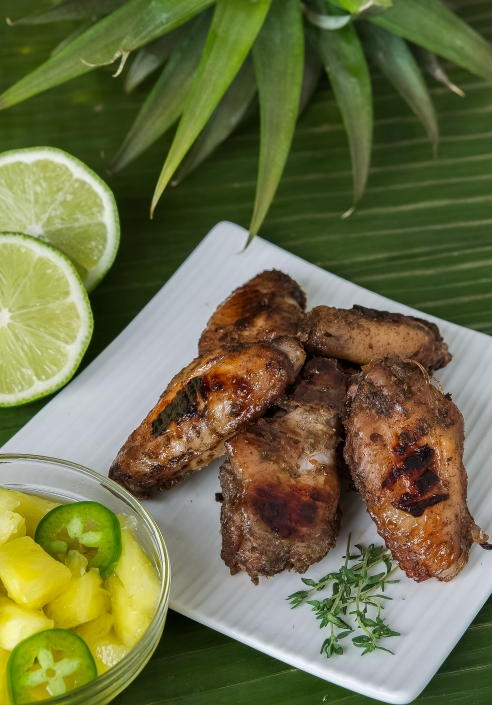 Jamaican Jerk Chicken Wings with Rum Pickled Pineapple