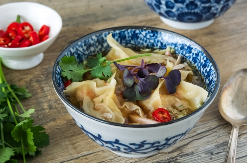 Chinese Chicken and Prawn Dumpling Soup
