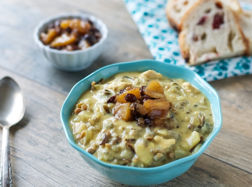 Chicken and Wild Rice Soup with Pineapple Currant Chutney