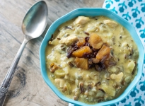 Chicken and Wild Rice Soup with Pineapple and Currant Chutney