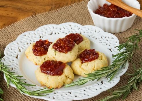 Cheesy Thumbprint Cookies with Tomato Bourbon Jam