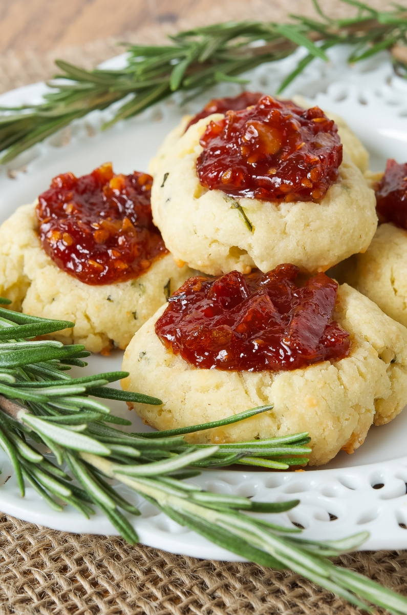 Cheesy Thumbprint Cookies with Tomato Bourbon Jam