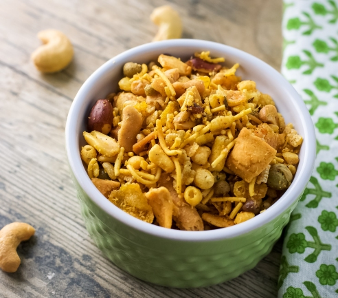 Bhel Puri is a crunchy, spicy Indian snack.