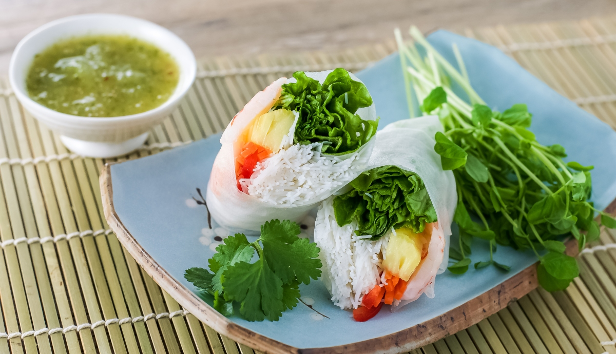 Salad Rolls with Pineapple and Pineapple Mint Dipping Sauce