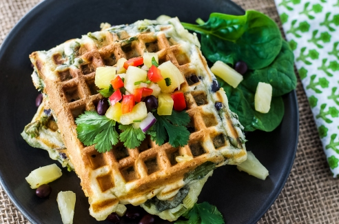 Green Waffles with Pineapple and Black Bean Salsa