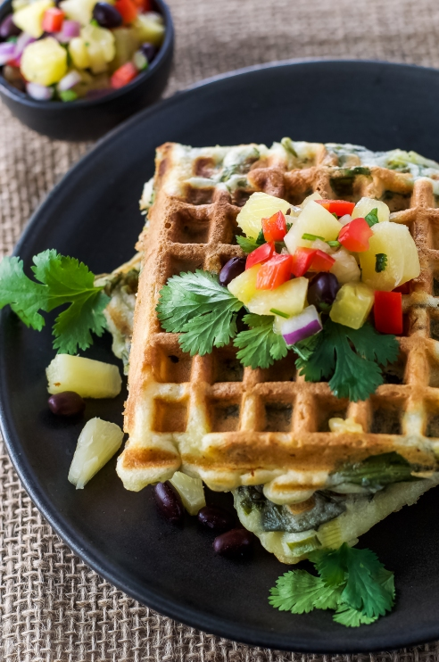Savoury waffles are awesome for breakfast or lunch!