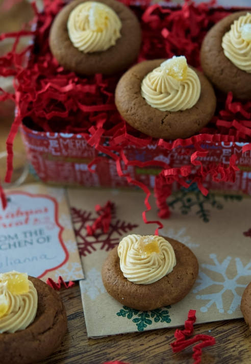 Gingerbread Cream Cheese Thumbprint Cookies